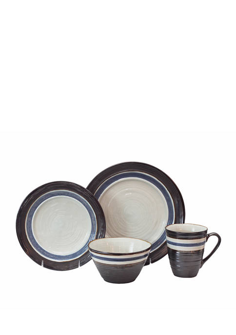 Baum Brothers 16 Piece Rustic Stripe Black Dinnerware