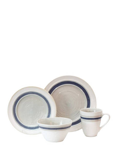 Baum Brothers 16 Piece Rustic Stripe White Dinnerware