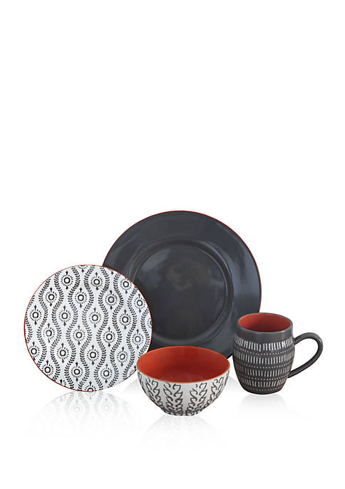 Baum Brothers Tangiers Gray 16-pc. Dinnerware Set