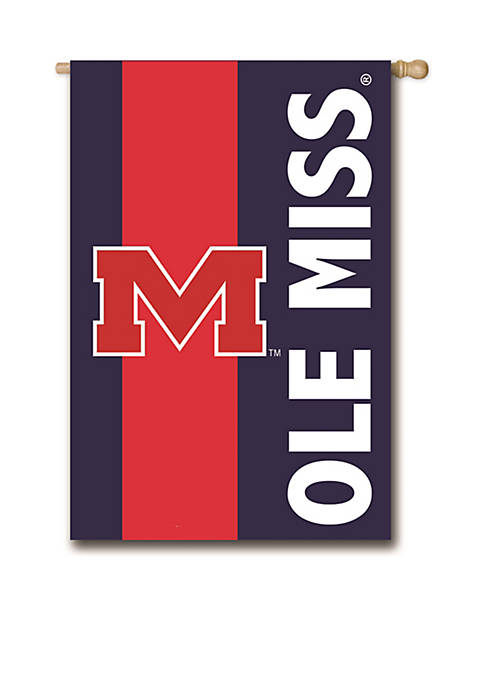 Evergreen Ole Miss Embellished House Flag