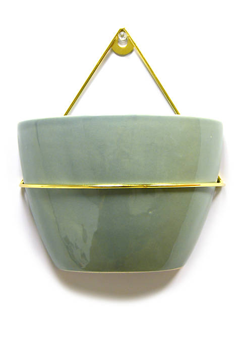 New View Ceramic Round Wall Planter with Metal