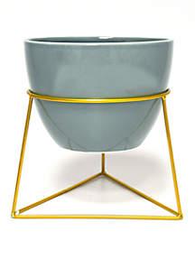 Ceramic Round Planter in Metal Stand