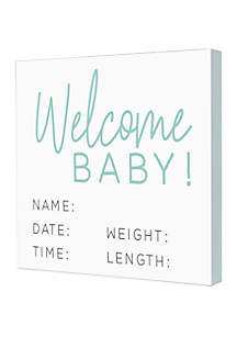 New View Welcome Baby Box Sign
