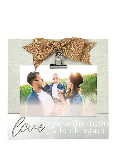Love You to the Moon Clip Frame with Metal Accent