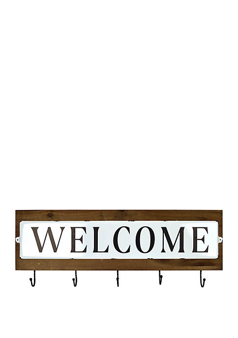 Enamel Welcome Sign with Hooks