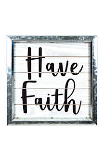 New View Have Faith Boxed Metal Wall Art