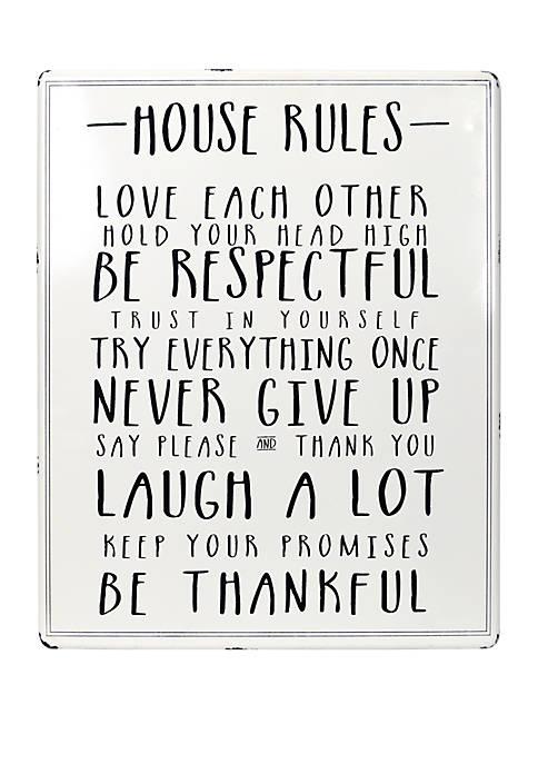 House Rules White Enamel Plaque