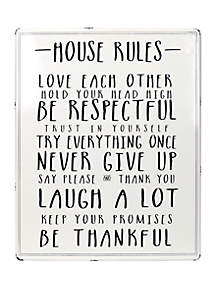 New View House Rules White Enamel Plaque