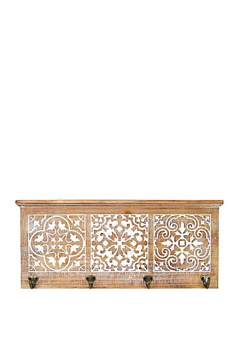 Carved Shelf with Hooks