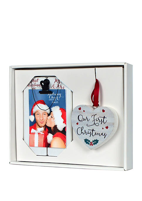 Ornament and Mini Frame Gift Set - Our First Christmas