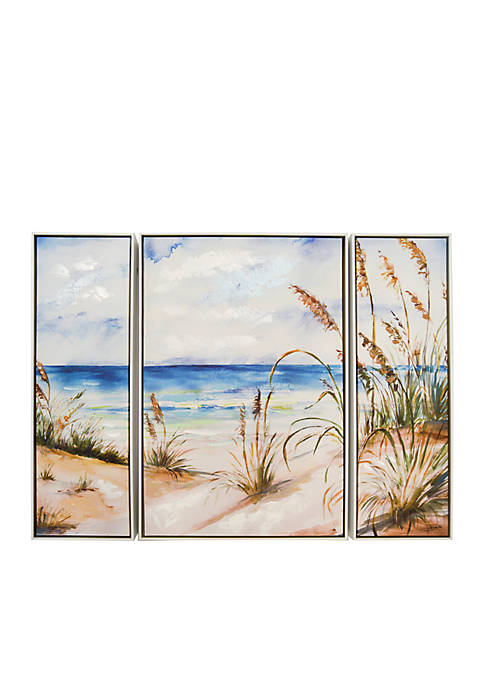 New View Embellished Canvas Beach Scene Art