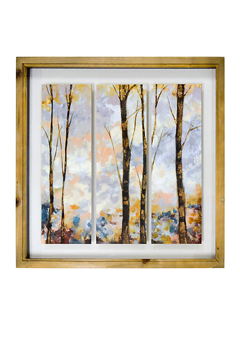 New View Birch Trees Shadowbox 3 Tiles