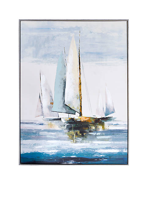 New View Sailboat Embellished Canvas