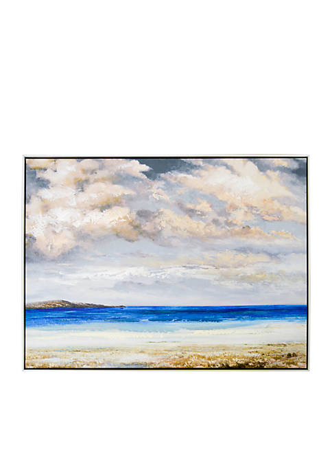 New View Beach Scene Framed Embellished Canvas