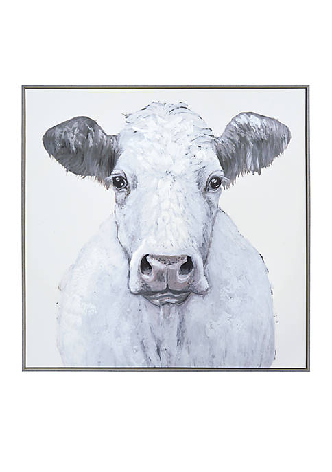 New View Framed Cow Embellished Canvas