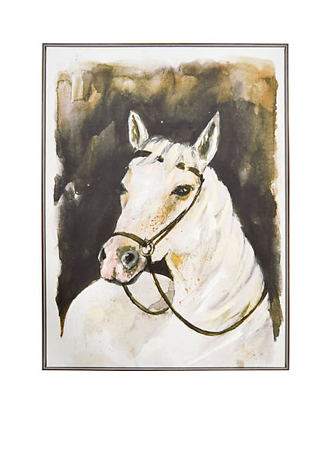 New View White Stallion Framed Embellished Canvas