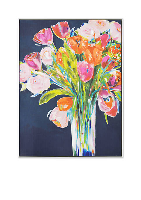 New View Framed Bouquet Embellished Canvas