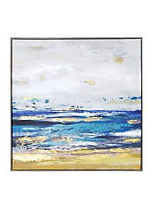 Painted Shore Framed Embellished Foil Canvas