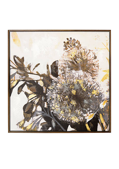 Gray Daffodil Framed Embellished Foil Canvas