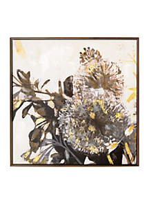 New View Gray Daffodil Framed Embellished Foil Canvas
