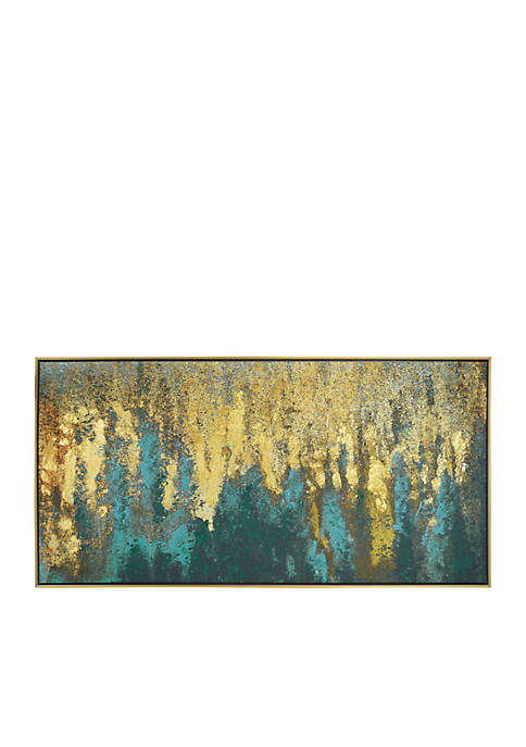 Liquid Gold Abstract Framed Embellished Foiled Canvas