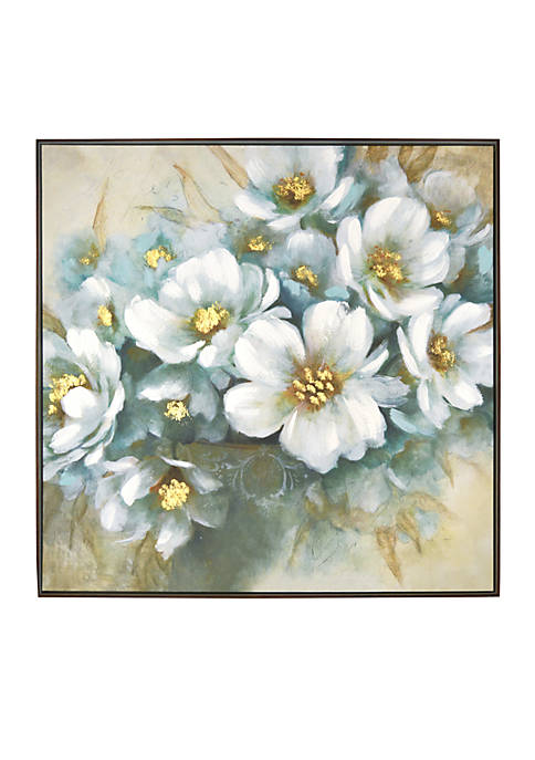 New View White Floral Framed Embellished Foiled Canvas