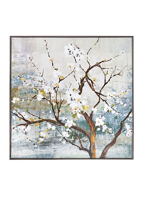 New View White Blossom Tree Framed Embellished Foiled
