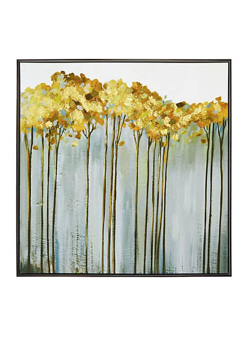 New View Golden Birch Framed Embellished Foil Canvas