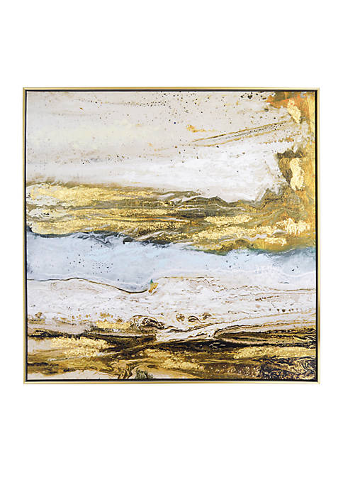 New View Melted Sand Framed Embellisehd Foiled Canvas