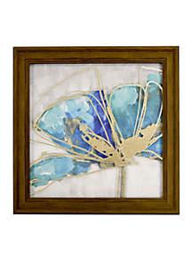 Teal Floral Metallic Printed Glass