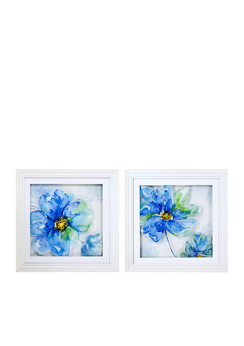 New View Blue Floral Multi Layer Glass