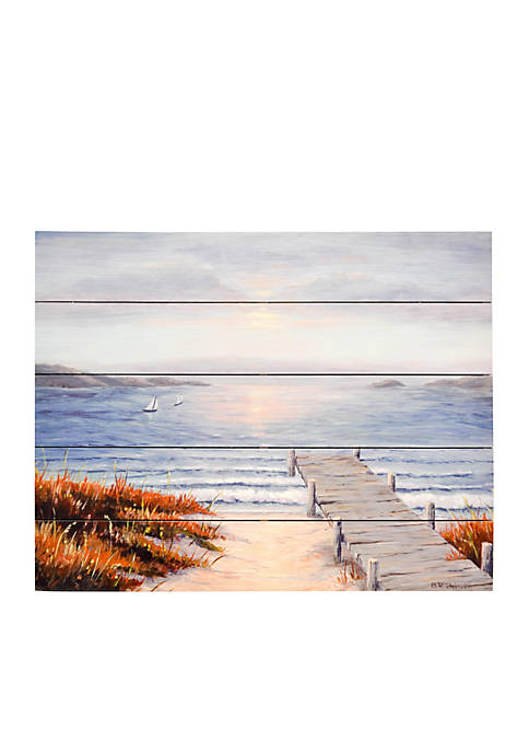 New View Pier Vacation Printed Wood Box Plank