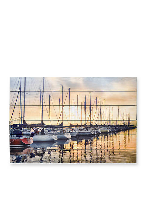 New View Docked Sailboats Wood Box Plank