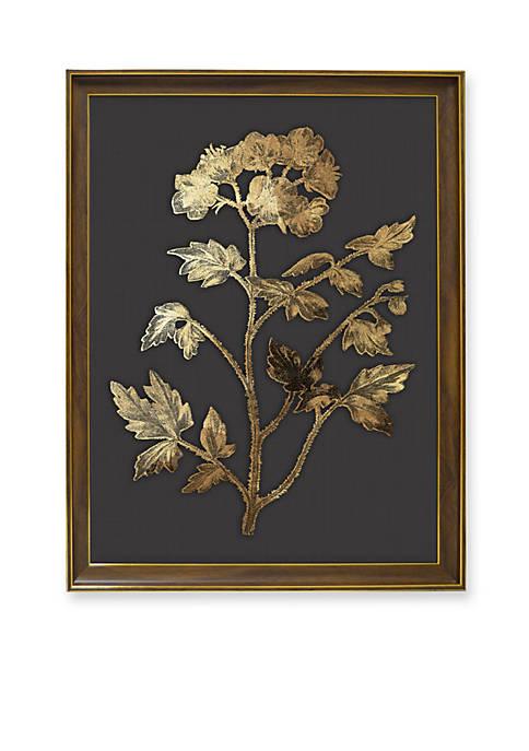 Golden Botanical Metallic Printed Glass Wall Art