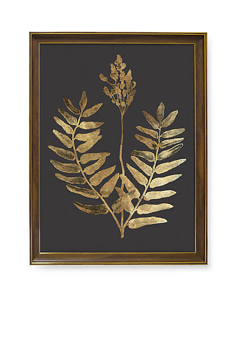 Golden Botanical Metallic Printed Glass Art