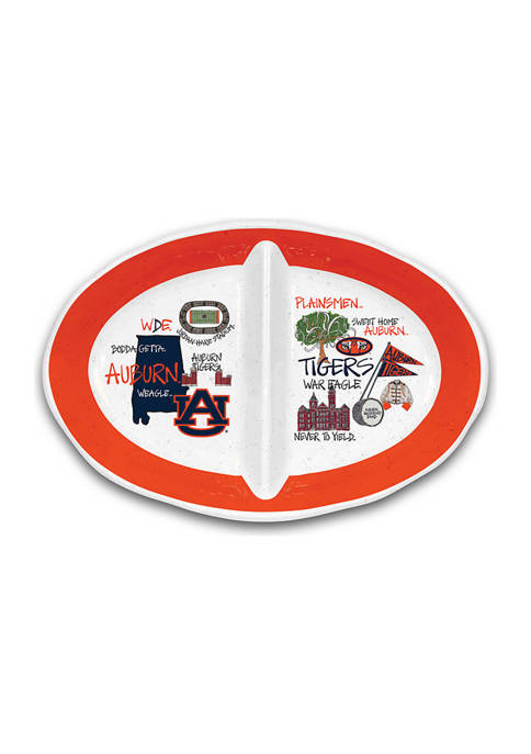 Magnolia Lane NCAA Auburn Tigers 2 Section Platter