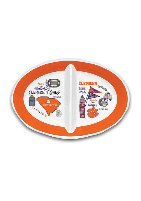 Magnolia Lane NCAA Clemson Tigers 2 Section Platter