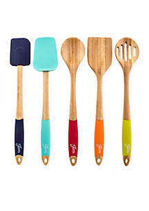 5-Piece Bamboo & Silicone Utensil Set