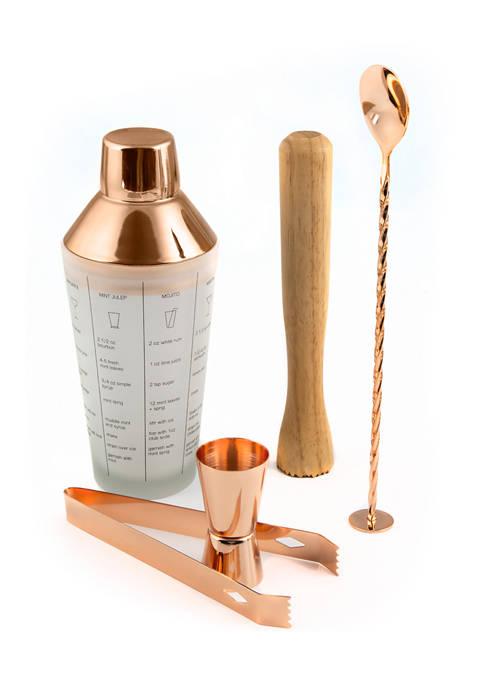 Cambridge Silversmiths 5 Piece Copper Mixology Set