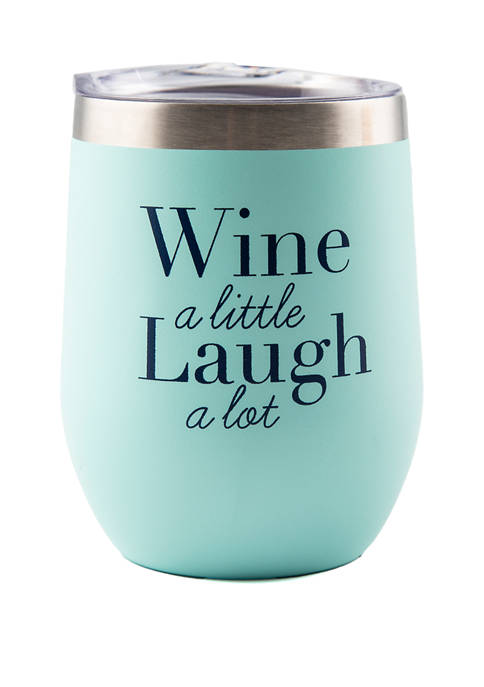 Green Double Wall Wine Tumbler with Lid