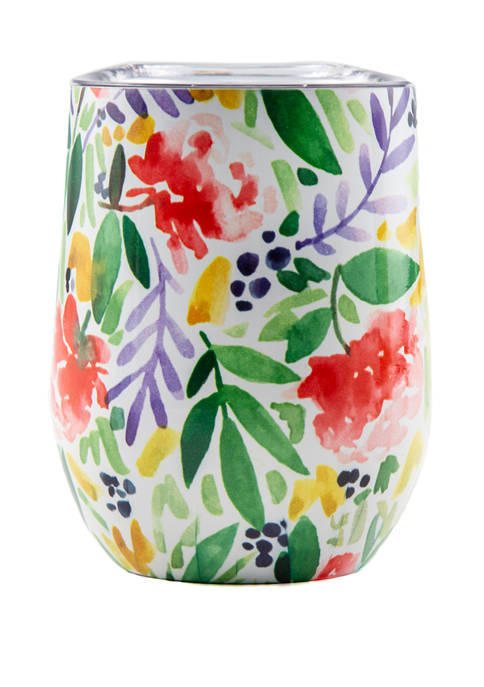 Floral Double Wall Wine Tumbler with Lid