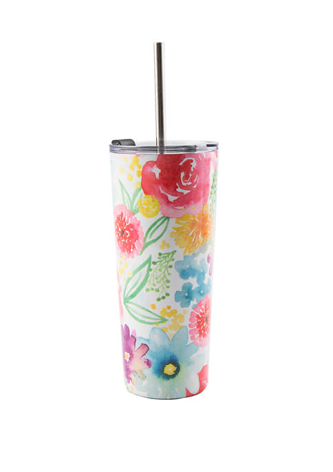22 Ounce Patterned Tumbler with Straw