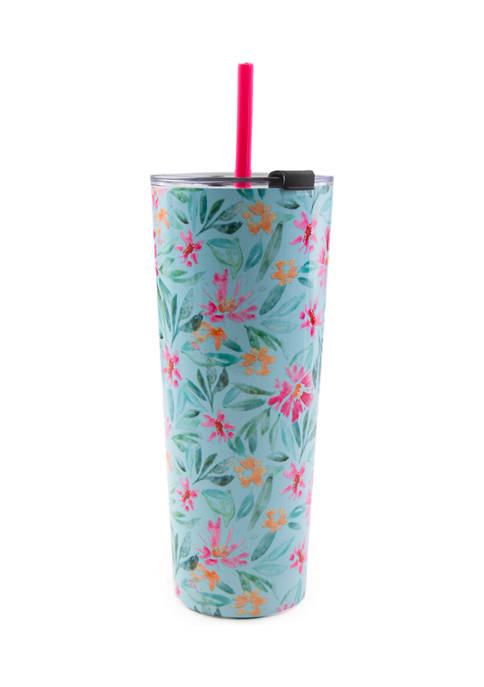 Cambridge Silversmiths 24 Ounce Blue Floral Insulated Straw