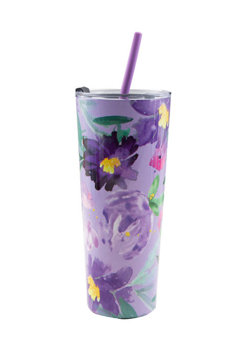 Cambridge Silversmiths 24 Ounce Purple Floral Insulated Straw