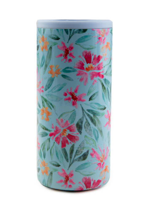 Cambridge Silversmiths Blue Floral Insulated Slim Can Cooler