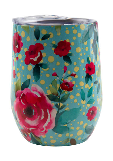 Cambridge Silversmiths 12 Ounce Turquoise Floral Insulated Wine
