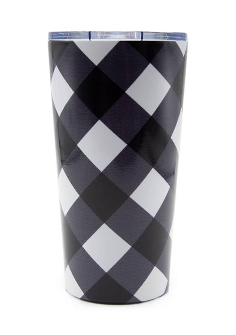 20 Ounce White/Black Buffalo Check Insulated Highball Tumbler