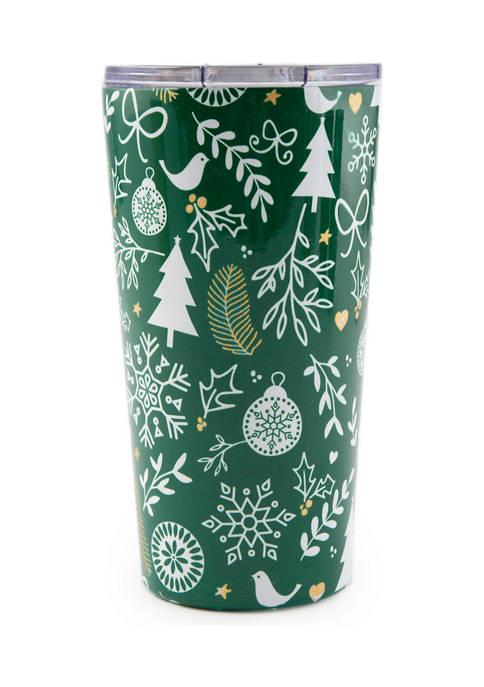 Cambridge Silversmiths 20 Ounce Green Snowflake Insulated