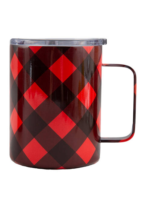 Cambridge Silversmiths 16 Ounce Red/Black Check Insulated Coffee