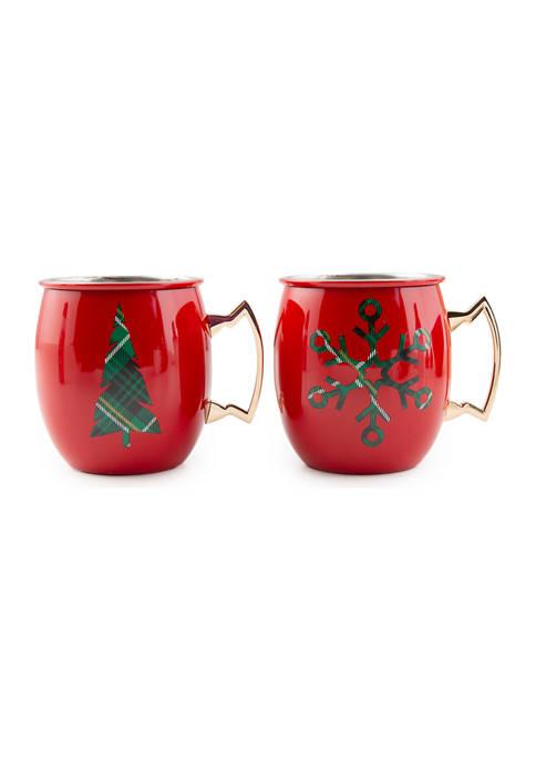 Cambridge Silversmiths 20 Ounce Christmas Moscow Mule Mugs